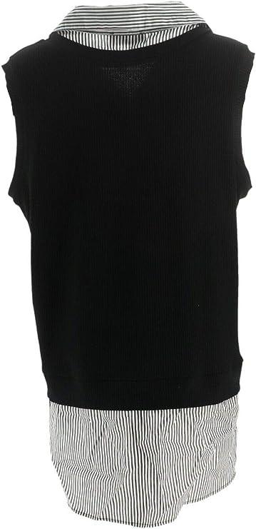 Kathleen Kirkwood Ribbed Tank Striped Collar Shirttail Black L NEW A351220