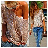 Sexy Women Sequin Bling Shiny Punk Loose Tee Shirt Blouse Club Party Casual Top