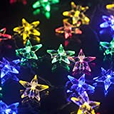 LEAZEAL Solar Outdoor Christmas String Lights, 30 LEDs Lucid Crystal Star Waterproof Light for Garden, Yard, Home, Landscape, and Holiday Decorations (Multicolored)