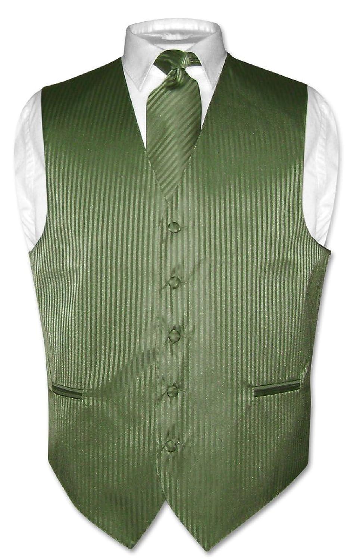 Men's Dress Vest & NeckTie OLIVE GREEN Color Vertical Striped ...