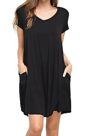 d6b231de3684 KEEDONE Women s Casual Plain Simple Pocket T-Shirt Loose Dress at ...