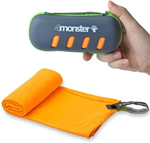 4Monster Microfiber Towel, Travel Towel, Camping Towel, Fast Drying, Soft Light Weight, Suitable for Gym, Beach, Swimming, Backpacking and More