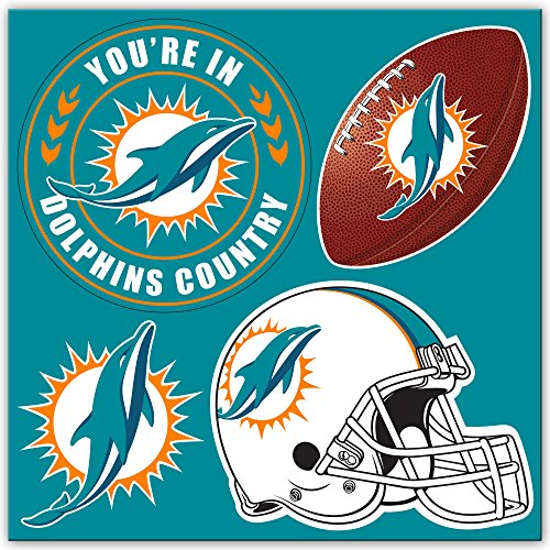 NFL Miami Dolphins NFL 4-Piece Magnet Setnfl 4-Piece Magnet Set, Teal, (Football Miami Dolphins Magnet)