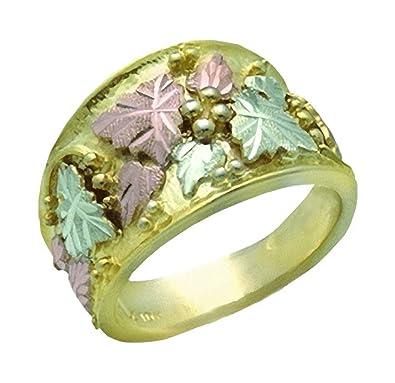 8e41b36002c49 Landstroms 10K Black Hills Gold Mens Wedding Ring with 10K Grapes ...