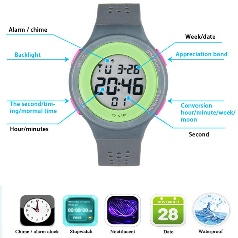 TTLIFE Unisexo Reloj Correa Negra Hombre Relojes de Pulsera de Moda Dial Grande Deporte Relojes Siliconas Reloj Correa Impermeable LED Digital Reloj ...