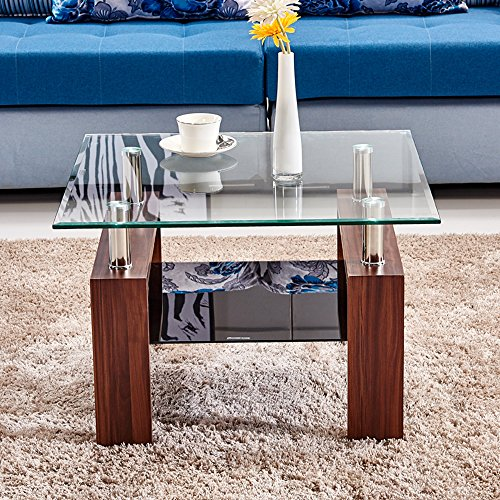 wande Glass Coffee End Table Square Night Table with Shelf 2-Tier Sofa Table with Stainless Steel Tube Brown