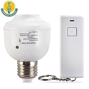 Wireless Remote Control Light Bulb Lamp Holder Adapter Socket Cap For E27  Screw Port Standard Bulb
