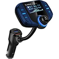 (Upgraded Version) Sumind Car Bluetooth FM Transmitter, Wireless Radio Adapter Hands-Free Kit with 1.7 Inch Display, QC3.0 and Smart 2.4A USB Ports, AUX Input/Output, TF Card Mp3 Player(Blue)
