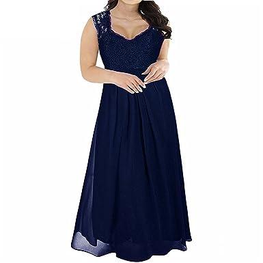 Crissiste Dresses Women V-Neck Chiffon Lace Patchwork Party ...