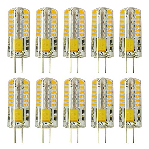 Rayhoo 10pcs G4 LED Bulb Bi-Pin Base Light Bulb Lamps 3 Watt AC DC 12V Equivalent to 20W T3Halogen Track Bulb Replacement LED Bulbs(Warm White 2800-3200K) 12v Ac Halogen Lamps