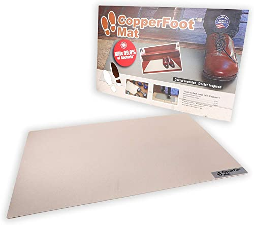 CopperFoot Mat – Real Copper Antibacterial Floor Mat Kills 99.9 of Bacteria ON Contact – Recyclable – Perfect Mat for Kitchen, Entryway, Office, Home, Front Door, Pet Door