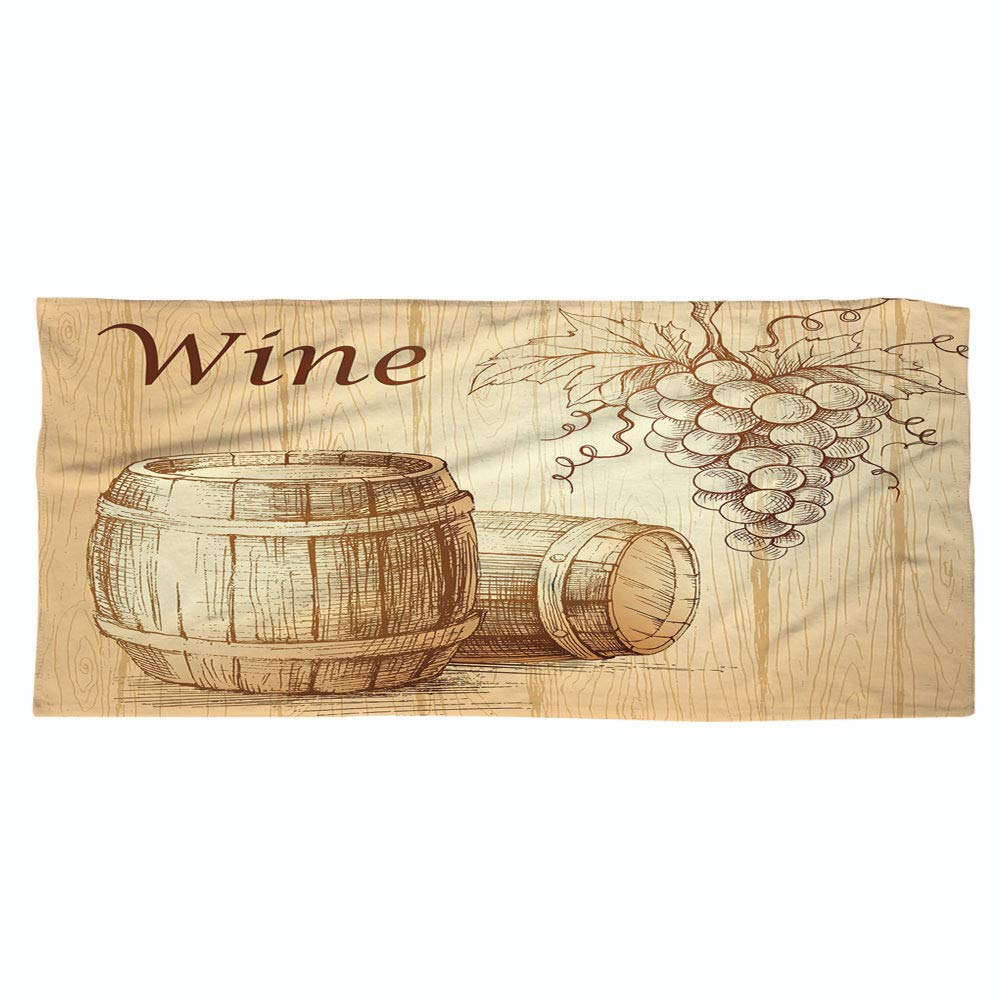 iPrint Large Cotton Microfiber Beach Towel,Wine,Wooden Barrels and Bunch of Grapes on Wood Backdrop Botany Harvest Theme Artwork Decorative,Brown Peach,for Kids, Teens, and Adults