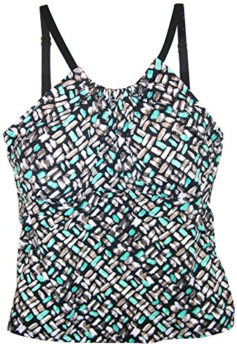 It Figures! High Neck Tankini Swimsuit Top (8, Black Multi)