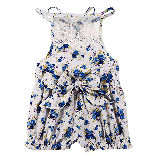 MIOIM Newborn Baby Girl Lace Floral Bowknot Backless Romper Bodysuit Jumpsuit Outfits