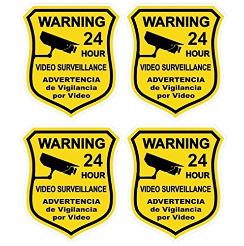 4 Pcs Supreme Popular Security Sticker Defense Sign Video Warning Property Protection Being Watched Size 3.5