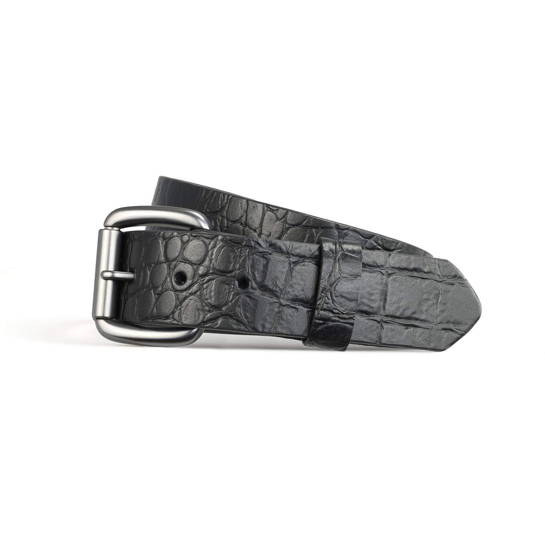 First Mfg Co Men's Crocodile skin Belt (Black, 36)