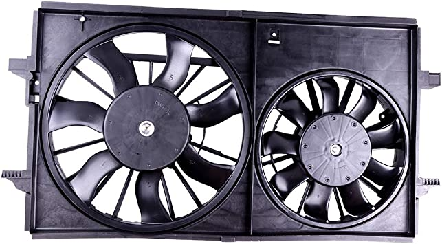 Fit for 2007-2009 Saturn Aura 2.4 Dual Radiator AC Condenser Plastic Cooling Fan