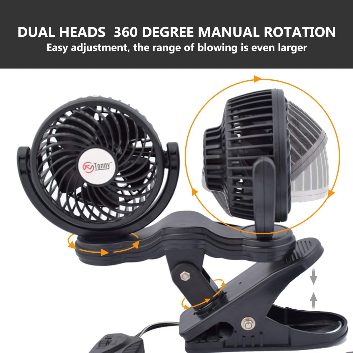 TN TONNY Dual Head Clip Fan 4 Inches Electric Car Clip Fans 360/° Rotatable,12V Cooling Air Fan with Stepless Speed Regulation for Vehicle or Home
