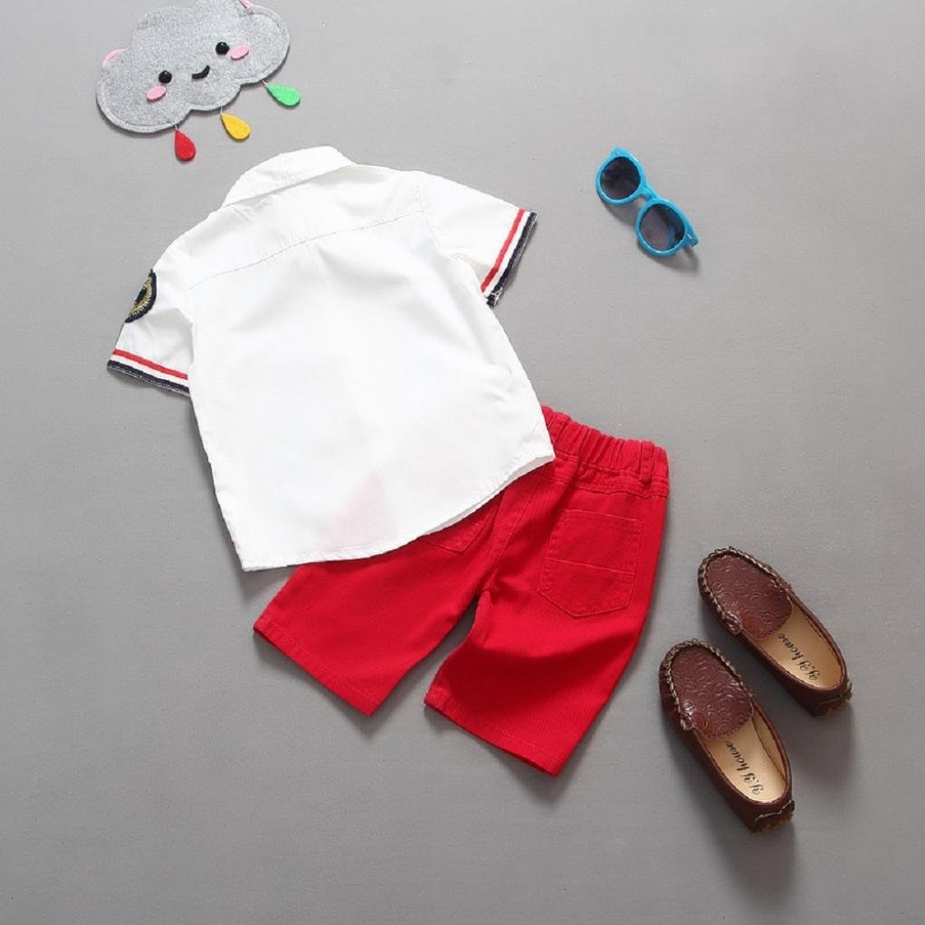 Fanteecy Summer Infant Newborn Baby Boy Clothes Outfits Stripe T-Shirt+Shorts Pants Set