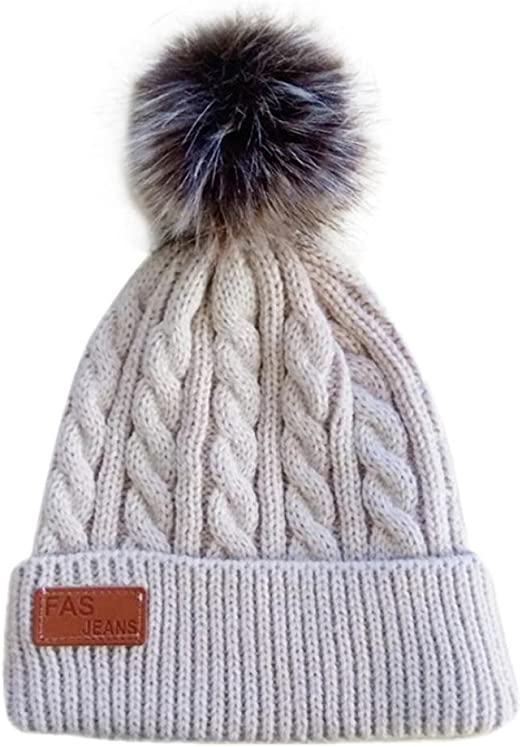 Baby Kids Knitted Cable Beanie Hat  Winter Warm Boys Girl Two Pom Pom Caps Hats