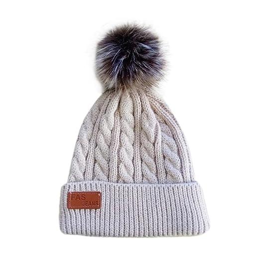 Tloowy Winter Clearance! Toddler Baby Boy Girls Kids Pom Pom Warm Cable  Knit Hats Crochet e84baebd485