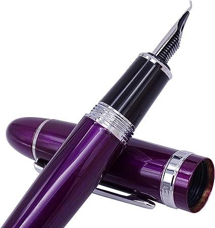 Jinhao 159 Pluma estilográfica de punta doblada, fina a amplia, color morado plateado con estuche para bolígrafo.: Amazon.es: Oficina y papelería
