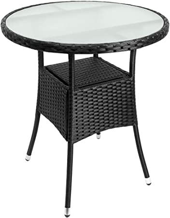Patio Rattan Low Coffee Table Glass Top Black Square Outdoor Side Snack Table