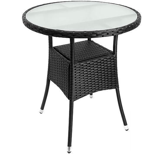 Tavolo Giardino Rattan Offerte.Tavolo Rotondo In Polyrattan Diametro 60 Cm Colore Nero