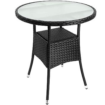 Gartentisch Rund Möbel.Deuba Poly Rattan Beistelltisch Schwarz ø 60 X 74cm Milchglas Tisch Rund Gartentisch Balkontisch Garten Möbel