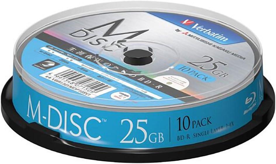 1000 Years Archival Verbatim M-Disc BD-R Inkjet Printable | 25GB 4x Speed | 10 Pack Sealed in Spindle 61eeNbDfnuLSL1050_