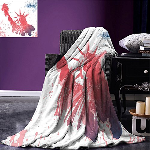 smallbeefly 4th of July Digital Printing Blanket Watercolor Lady Liberty Silhouette with Paint Splashes Independence Summer Quilt Comforter Dark Coral Pale Blue -