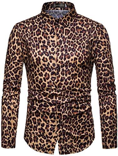 Sportides Men's Casual Long Sleeve Leopard Print Dress Shirts Tops JZA453 Yellow ()