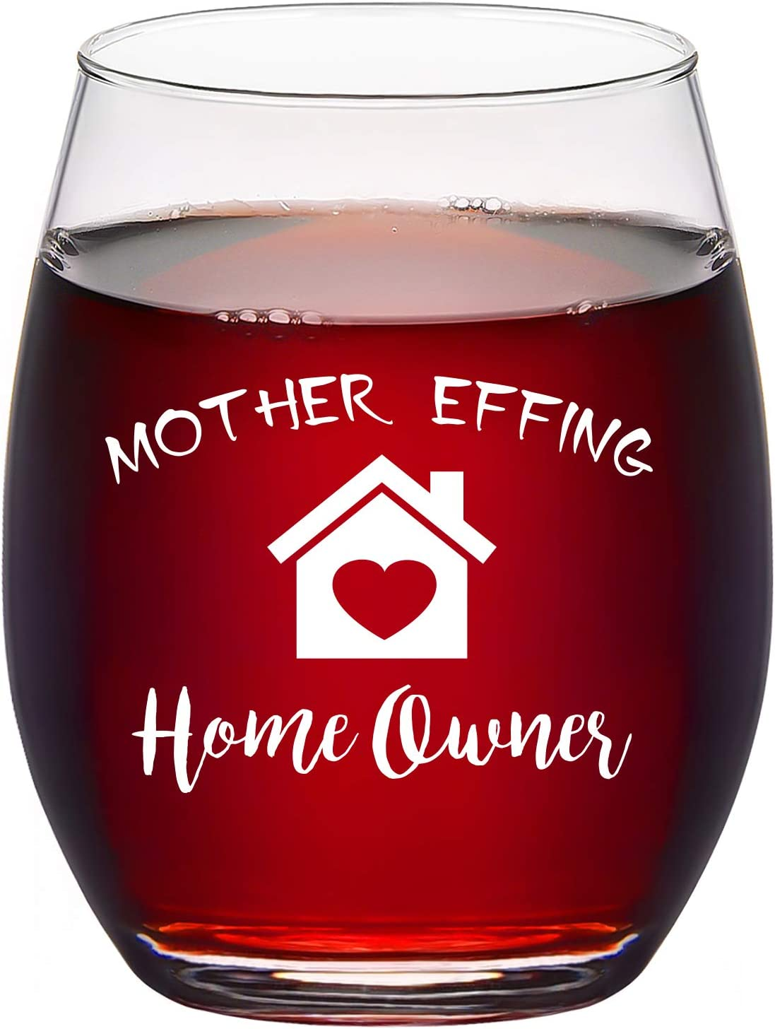 Housewarming Gifts, Mother Effing Homeowner Stemless Wine Glass, Gift Idea for New Home Friend Women Men First Time Home Owner Christmas Mother's Day, Funny Housewarming Presents, 15Oz