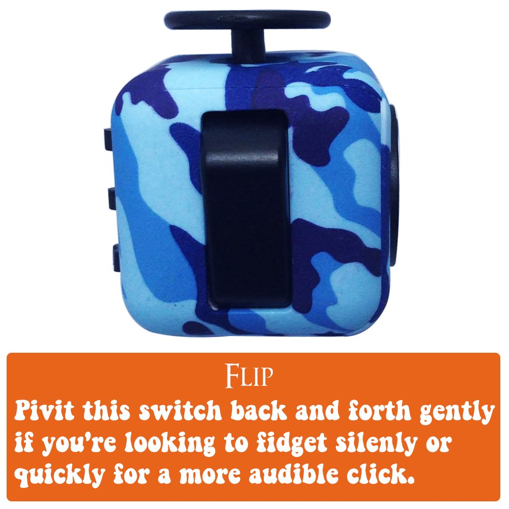 LvnWin Fidget Cube Dice Toy Stress Reducer Helps Focusing Relax Anti-Anxiety Boredom For ADD, ADHD, EDC, Kids and Autism Adult Children (Camo Blue) by LvnWin (Image #5)
