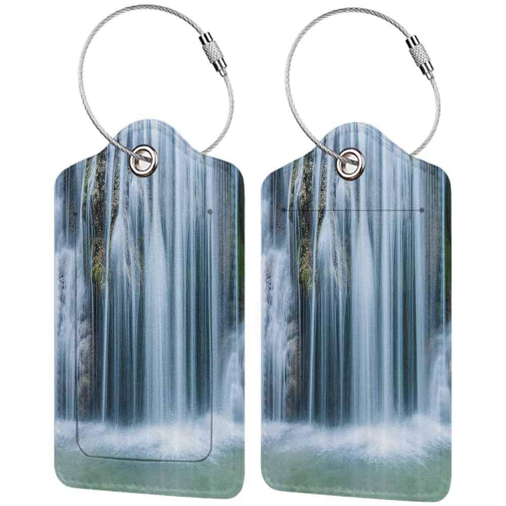 Printed luggage tag Waterfall Decor Massive Magnificent Cascaded Waterfall in Rain Forest with intense Water Image Protect personal privacy White W2.7 x L4.6