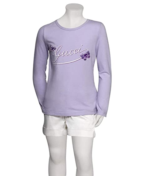 990a0bb7928 Gucci Kid s Lilac Cotton Elastane Butterfly Embroidery Long Sleeve Top T  Shirt ...