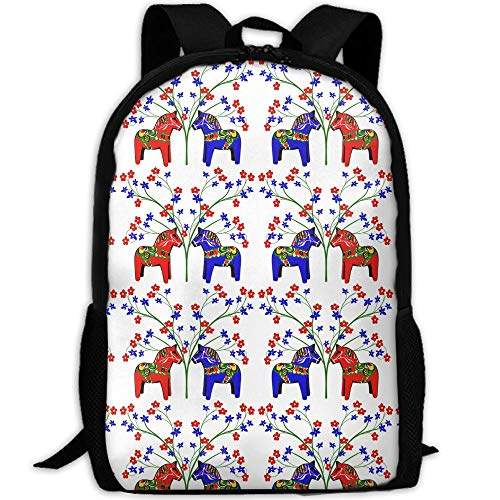Floral Swedish Dala Horses School Backpack - Unisex Student Stylish Laptop Book Bag Daypack For Teen Boys And Girls by SAPLA