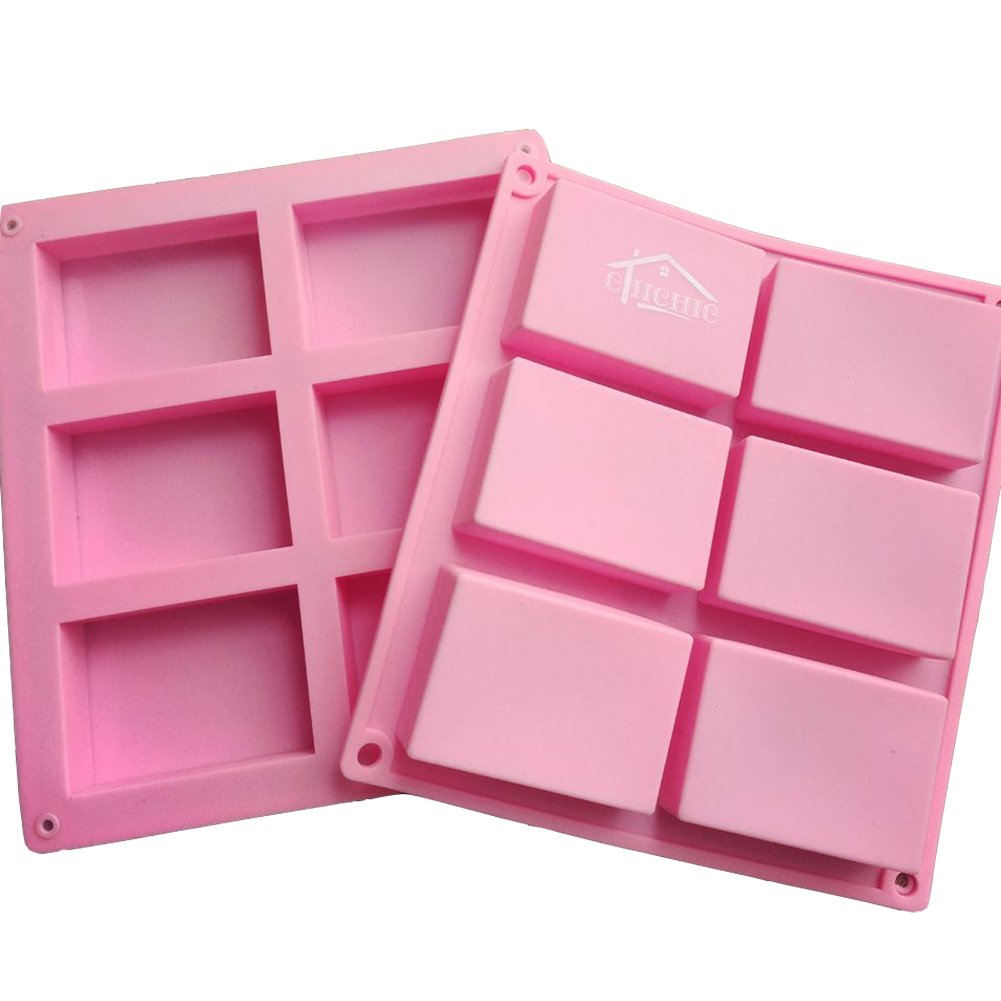 Rectangle Baking Mold Cake Pan Biscuit Chocolate Mold CHICHIC 2 Pack 6 Cavities Silicone Soap Mold Ice Cube Tray Premium Silicone Soap Bar and Resin Mold for Homemade Craft 6 Cavity DIY Soap Molds