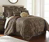 Sterling Creek Valencia 9-piece Black Gold Floral Jacquard Oversized Comforter Set (King)