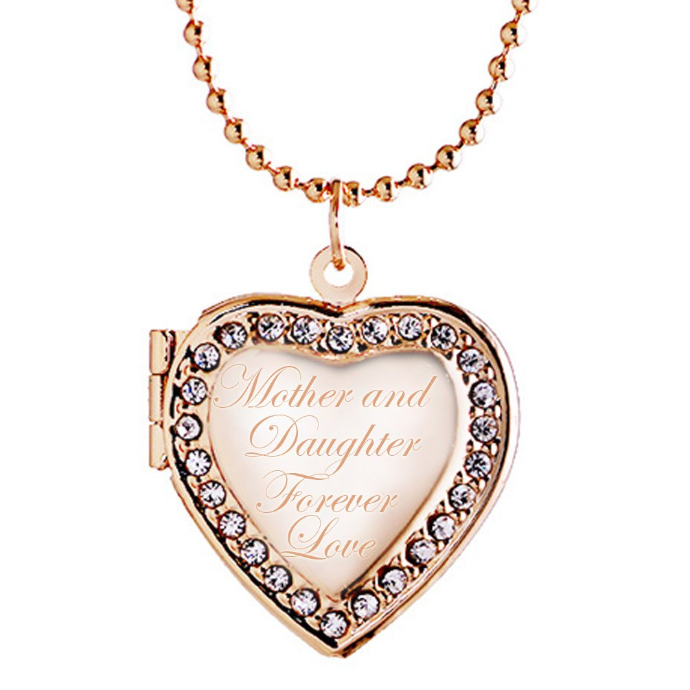 Mom and Daughter Forever Love Heart Locket Necklace Engraving Pendant Photo
