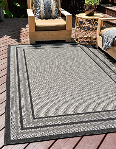 (Unique Loom Outdoor Collection Solid Border Casual Indoor and Outdoor Transitional Gray Area Rug (9' x 12'))