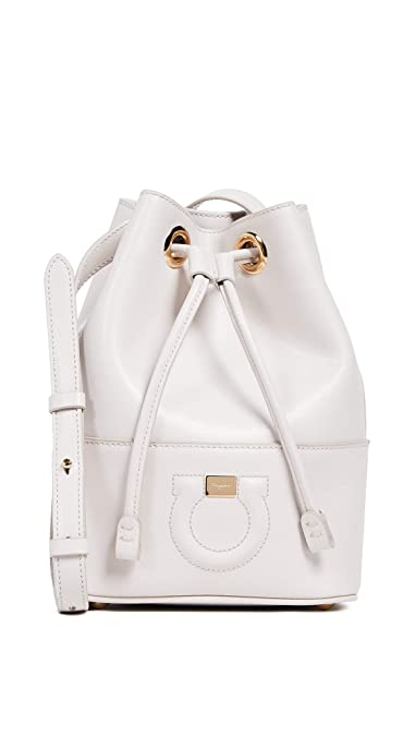 779f516348b51 Salvatore Ferragamo Women's City Bucket Bag, Jasmine Flower, Off White, One  Size
