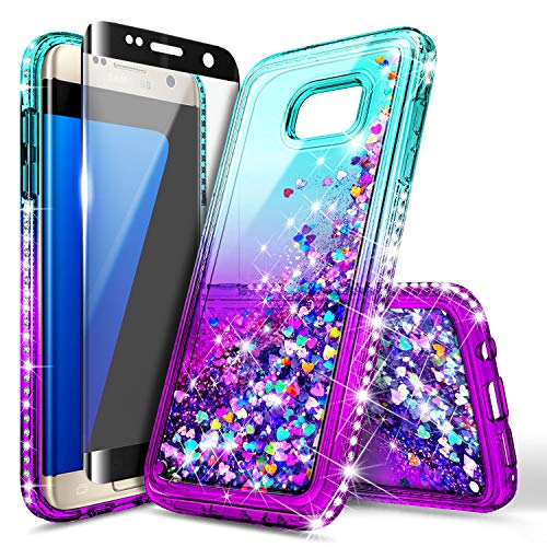 Galaxy S7 Edge Case w/[Full Coverage Screen Protector 3D PET HD], NageBee Glitter Liquid Quicksand Flowing Shiny Sparkle Bling Diamond Cute Case for Samsung Galaxy S7 Edge -Aqua/Purple ()