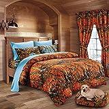 20 Lakes Hunter Camo Comforter, Sheet, Pillowcase Set (Twin, Orange & Powder Blue)