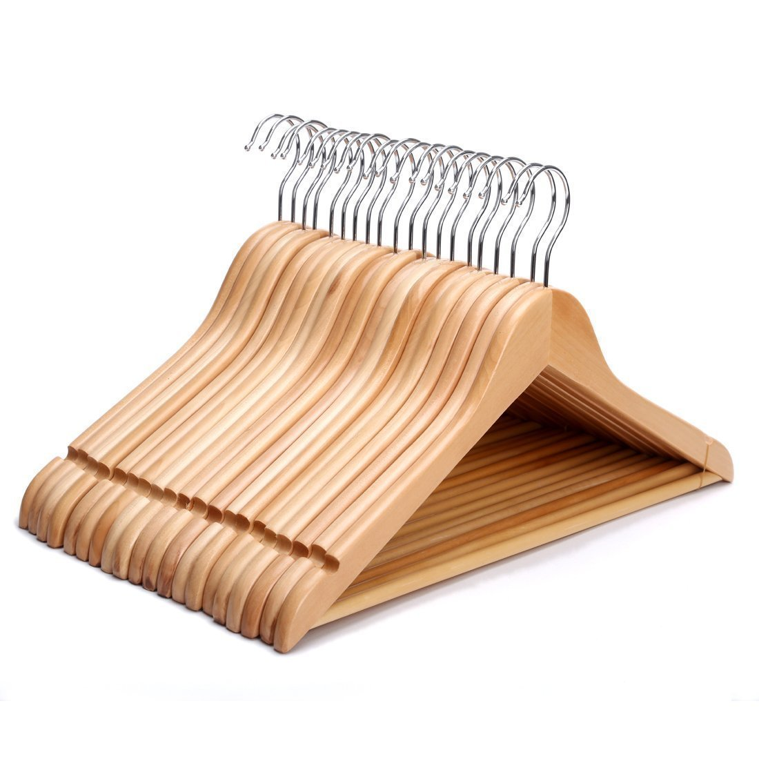 The Shopfitting Shop Eazilife 100 X Superior Wooden Clotheshangers Coat Hangers For Shops Homes With Trouser Bar Skirt Notches 44cm