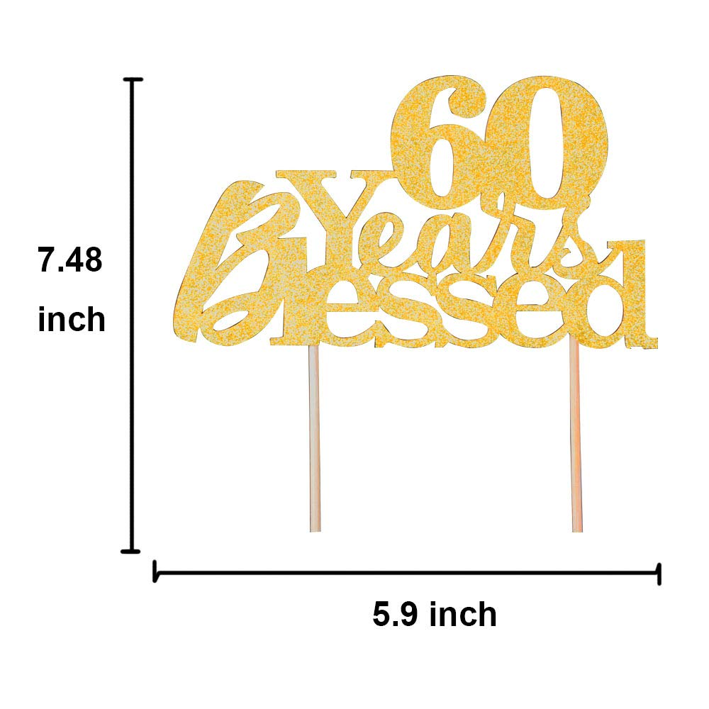 Happy 60th Birthday Gold Glitter Wedding Anniversary Party Decoration Supplies 60 Years Blessed Cake Topper
