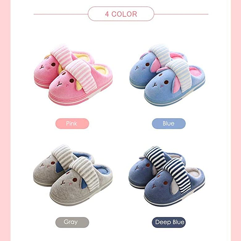 JILIGUALA Kids Cute Bunny Cotton Plush Warm House Slippers Non-Slip for Toddler Little Kid