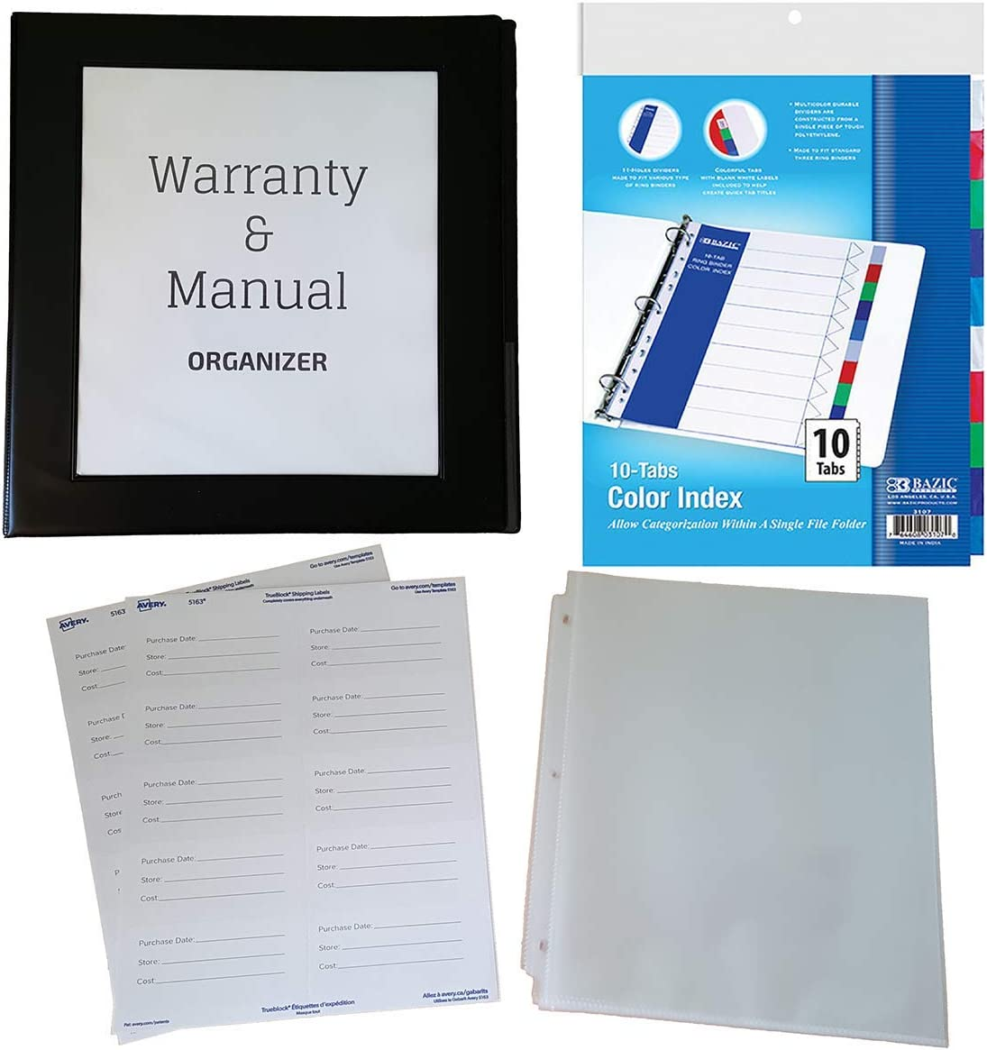 Home Warranty and Manual Organizer Kit with 1.5 Inch 400-Sheet Capacity Binder, Dividers, Sheet Protectors, Product Information Labels, Binder Cover and Sleeve Insert