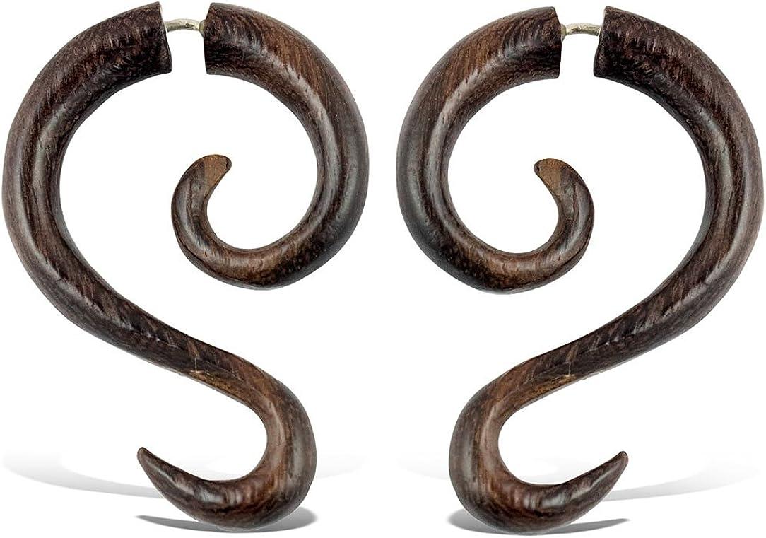 Leaf Earrings Wood Fake Earrings Bali Jewelry Saba 26 Fake Gauge Earrings Wooden Accessories Tribal Fake Earrings
