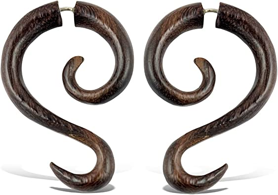 14mm Pair 58 Sono Wood Hand Carved Floral Bows w Circle Plugs Dark Brown Earrings 78 16mm 22mm 916